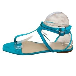 Zara  turquoise suede double ankle strap  sandals